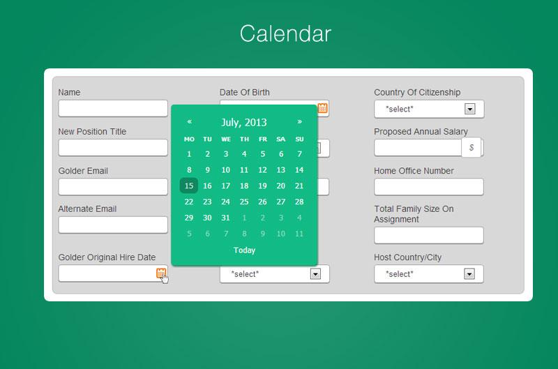 Tofful - Portfolio, Forms - Calendar